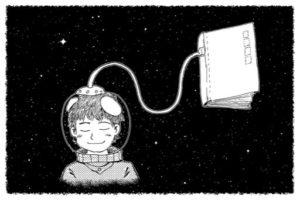Kosmonaut s knihou připojenou ke skafandru